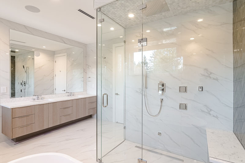 Glass Shower Enclosure in a Modern Bathroom