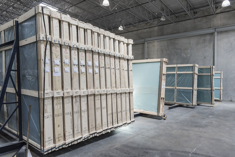 Warehouse with large sheets of glass