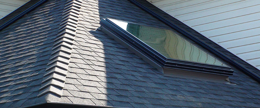 Exterior view of a residential skylight