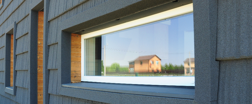 close up of passive house window